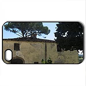 Certaldo in Tuscany Italy - Case Cover for iPhone 4 and 4s (Farms Series, Watercolor style, Black)