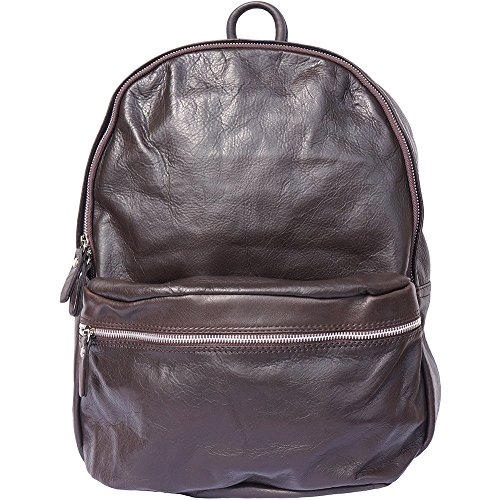 UNISEX BACKPACK WITH GENUINE COW LEATHER 7028 Dark Brown