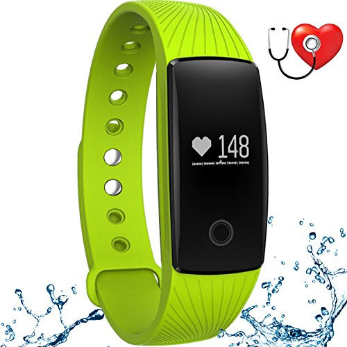 wonlex Fitness Tracker with Heart Rate Monitor,IP67 Waterproof Sports Pedometer Activity Tracker Smart Bracelet Watch for Women Men and Kids (Green) by wonlex