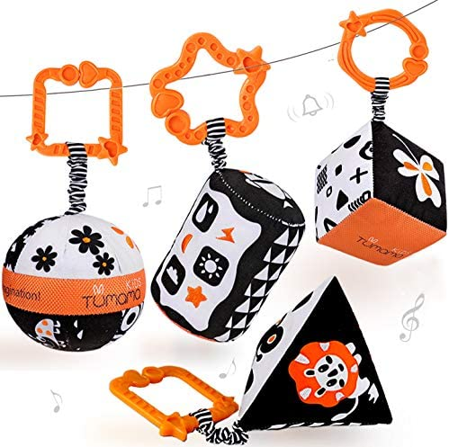 4 High Contrast Baby Toys Tummy Time for 0- 12 Months, Black and White Rattles for Infants, Gym/ Crib/ Stroller Hanging Toys Plush, Crinkle and Squeak Visual and Auditory Stimulation Soft Toy