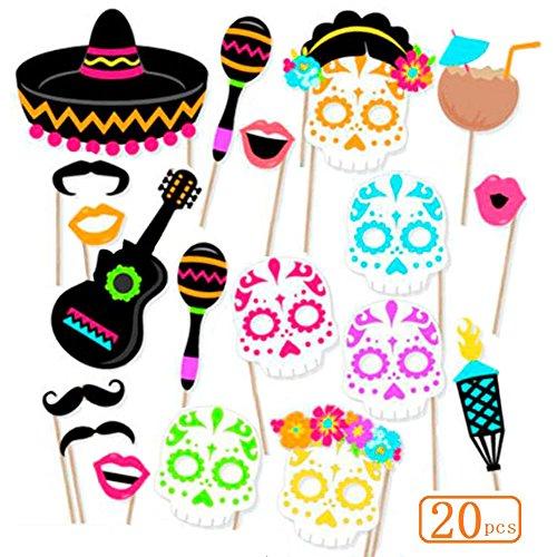 Sakolla Mexican Photo Booth Props Fiesta Cinco De Mayo Party Supplies Dead Masks Sugar Skull Fiesta Carnival Props for Wedding Birthday Party Favors 20PCS ()