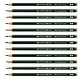 Faber Castell Pencils, Castell 9000 Art graphite pencils, black lead B Pencil for writing, sketch, drawing, shading, artist, school supplies pencils - 12 pack (B)