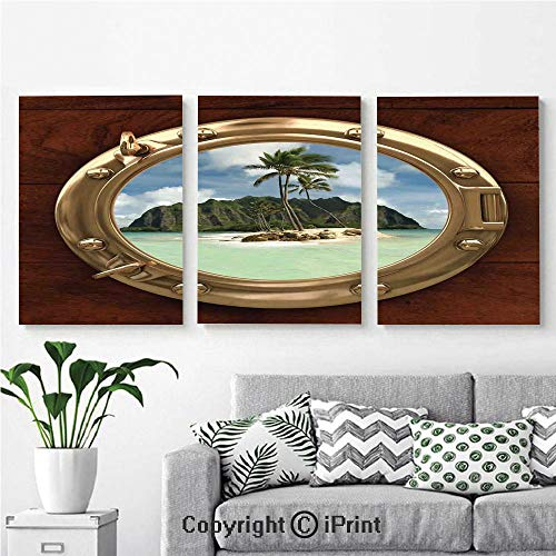 - 3PCS Triple Decoration Painting Wall Mural Porthole Inside a Ship with a View of a Deserted Island Hill Cliff Tropical Holiday Living Room Dining Room Studying Aisle Painting,16