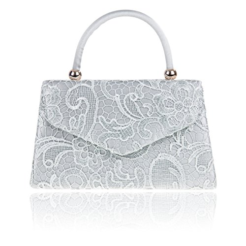 Bridal Silver Xardi London Lace Floral Ladies Women Designer Handled Clutch UK Handbag Satin Evening P4nPpqBa