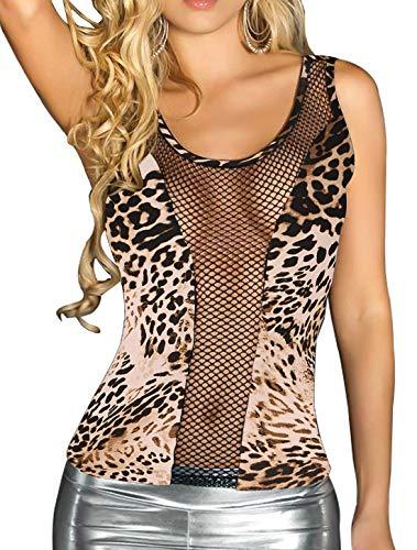 DREAGAL Women's Sexy Sleeveless Leopard Print Night Out Shirt Yellow Medium