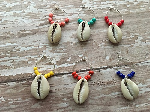 Colorful Real Cowrie Seashell Wine Glass Charms, 6