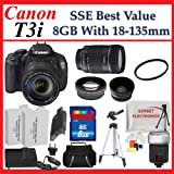Canon EOS Rebel T3i Digital SLR Camera with 18-135mm Lens + SSE Best Value Lens Accessory Package, Best Gadgets