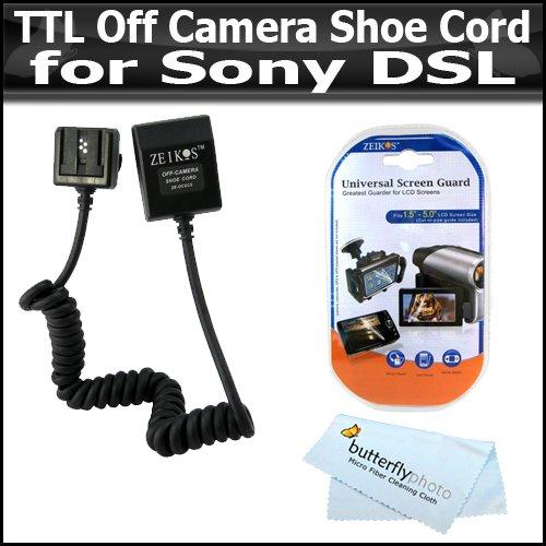 TTLオフカメラシューコードfor Sony DSLR - f58am HVL - f42am Sonyアルファfa-cc1am + LCDクリアスクリーンプロテクター+ BPマイクロファイバークリーニングクロス   B002YQWJH0