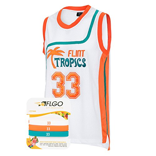 AFLGO Moon #33 Flint Tropics Basketball Jersey S-XXXL White, 90's Clothing Throwback Will Smith Costume Athletic Apparel Clothing Stitched – Top Bonus Combo Set with Wristbands (White, -