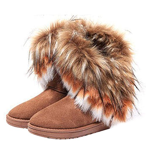 VFDB Women Mid Calf Boot Suede Faux Fur Tassel Outdoor Winter Snow Suede Flat Shoes US 9]()