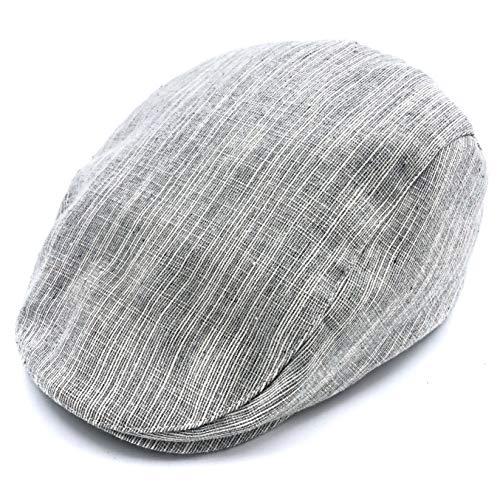 (accsa Kid Boy Newsboy Flat Cap Textured Linen Scally Driver Golf Hat)
