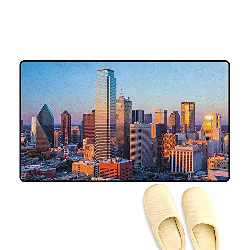 (YGUII United States Door Mat Indoors Bathroom Non Slip Dallas Texas City with Blue Sky at Sunset Metropolitan Finance Urban Center Size:16X23.6in (40x60cm) Multicolor)