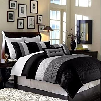 Gray 8-Piece Luxury Pintuck Pleated Stripe Black and White Comforter Set