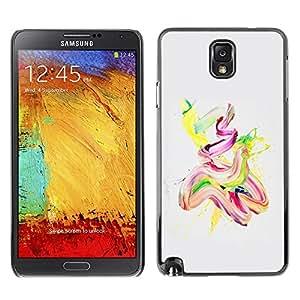 TopCaseStore / la caja del caucho duro de la cubierta de protección de la piel - Watercolor Oil Paint Yellow Pink Finger Paint - Samsung Galaxy Note 3 N9000 N9002 N9005