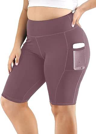Uoohal Women's Yoga Shorts Plus Size High Waist Workout Biker Active Shorts Tummy Control Side Pockets