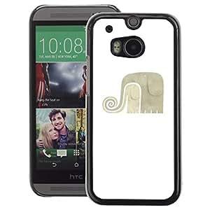 A-type Arte & diseño plástico duro Fundas Cover Cubre Hard Case Cover para HTC One M8 (White Grey Minimalist Art)