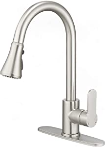 Kitchen Faucets, Modern Kitchen Faucet with Sprayer, Single Handle 1 or 3 Hole Kitchen Faucet Brushed Nickel, Faucet for Kitchen Sink, 3 Function Faucets for Farmhouse rv Bar Laundry Sinks BURUWO