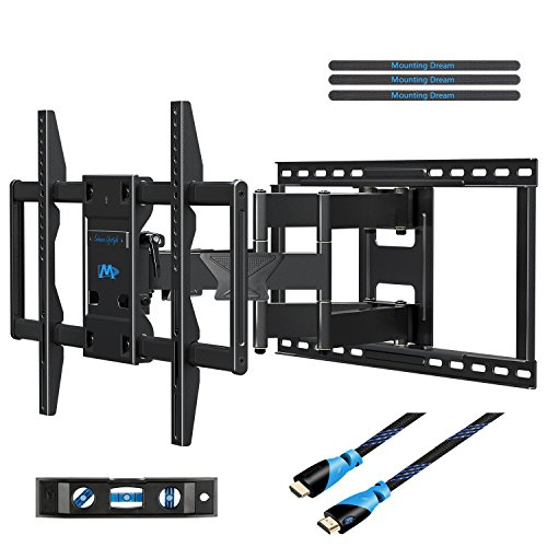 Mounting Dream MD2298 Premium TV Wall Mount Bracket Fits 16, 18, 24 inch Wood Stud Spacing with Full Motion Articulating Arm for most 42-70 Inch LED, LCD and Plasma TV up to VESA 600x400mm and 132 lbs by Mounting Dream