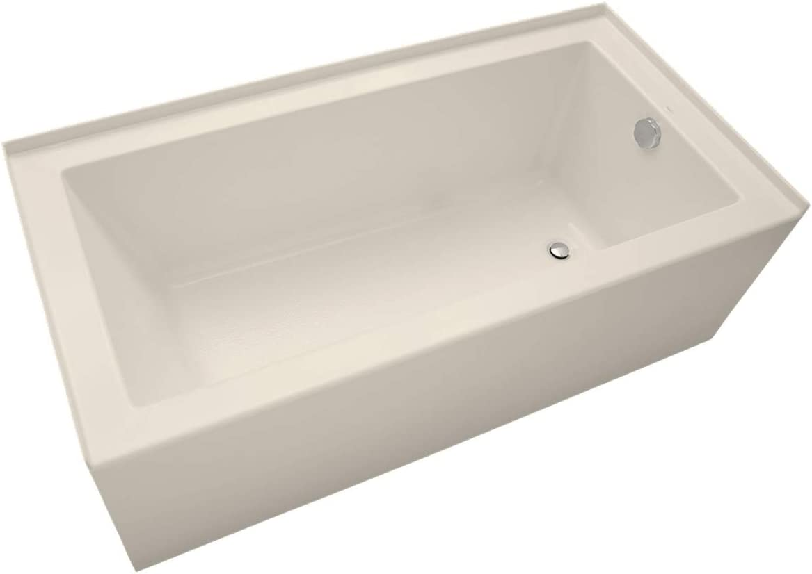 Mirabelle MIRSKS6032RBS Sitka 60 X 32 Acrylic Soaking Bathtub for Three Wall Alcove Installations with Right Drain
