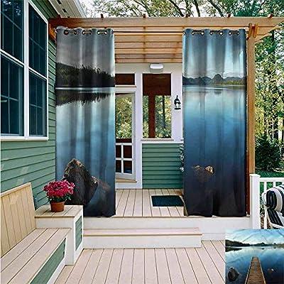 Beihai1Sun Outdoor Window Curtains,Landscape Calm Canadian Lake Rocks,Grommet Curtains for Bedroom,