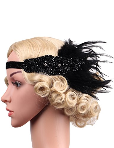Flapper Girl 1920s Flapper Feather Headband Vintage Headpiece Beige and Gold (Black) (Flapper Girls 1920)