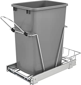 Rev-A-Shelf RV-12KD-17C S 35-Quart Chrome-Plated Wire Bottom Mount Pullout Kitchen Waste Trash Can Container Bin with Rear Storage, Silver