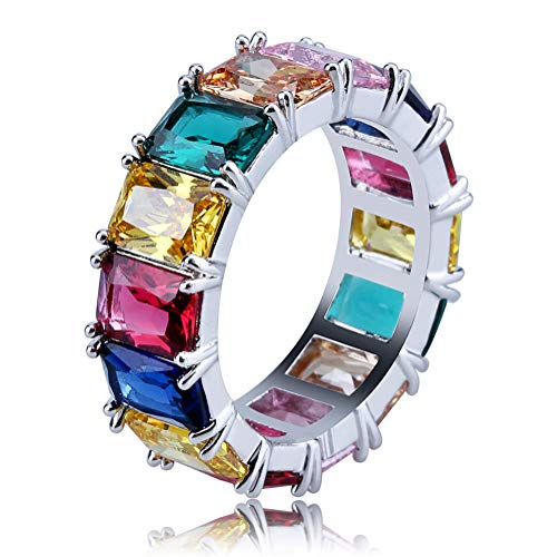Gold Filled Fashion Jewelry Rainbow Square Baguette cz Engagement Ring for Women Colorful Cubic Zirconia cz Eternity Band Ring (Silver, 11) ()