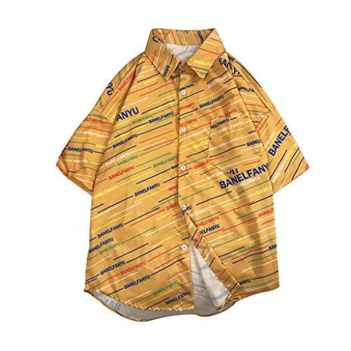 - YKARITIANNA 2019 Mens Summer Fashion Shirts Casual Short Sleeve Beach Tops Loose Casual Blouse Yellow
