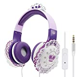 VCOM Kids Headphones with Microphone, Princess Children Headset with Volume Limiting Feature for Girls, 3.5mm Audio Jack for Tablets Computer Kindle Laptops iPhone iPad Smartphone (Purple)