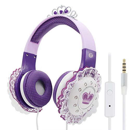 Kids Headphones for Girls, VCOM Princess Wired Children Headset with Microphone, Volume Limited Hearing Protection, 3.5mm Audio Jack Compatible for iPad Tablets Kindle Cellphones MP3/4 (Purple)