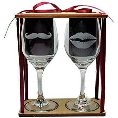 His and Her's Lips and Mustache Engraved Wine Glasses with Charms