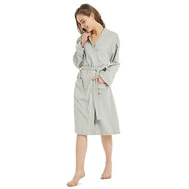 Gutherren Womens Cotton Bathrobe Lightweight Soft Robes Summer Spa Comfy Sleepwear