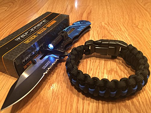 Lost Survival Gear Tac-Force Blue Police spring Assisted Open LED Tactical Rescue automatic pocket knife/Thin Blue Line Paracord Bracelet By -