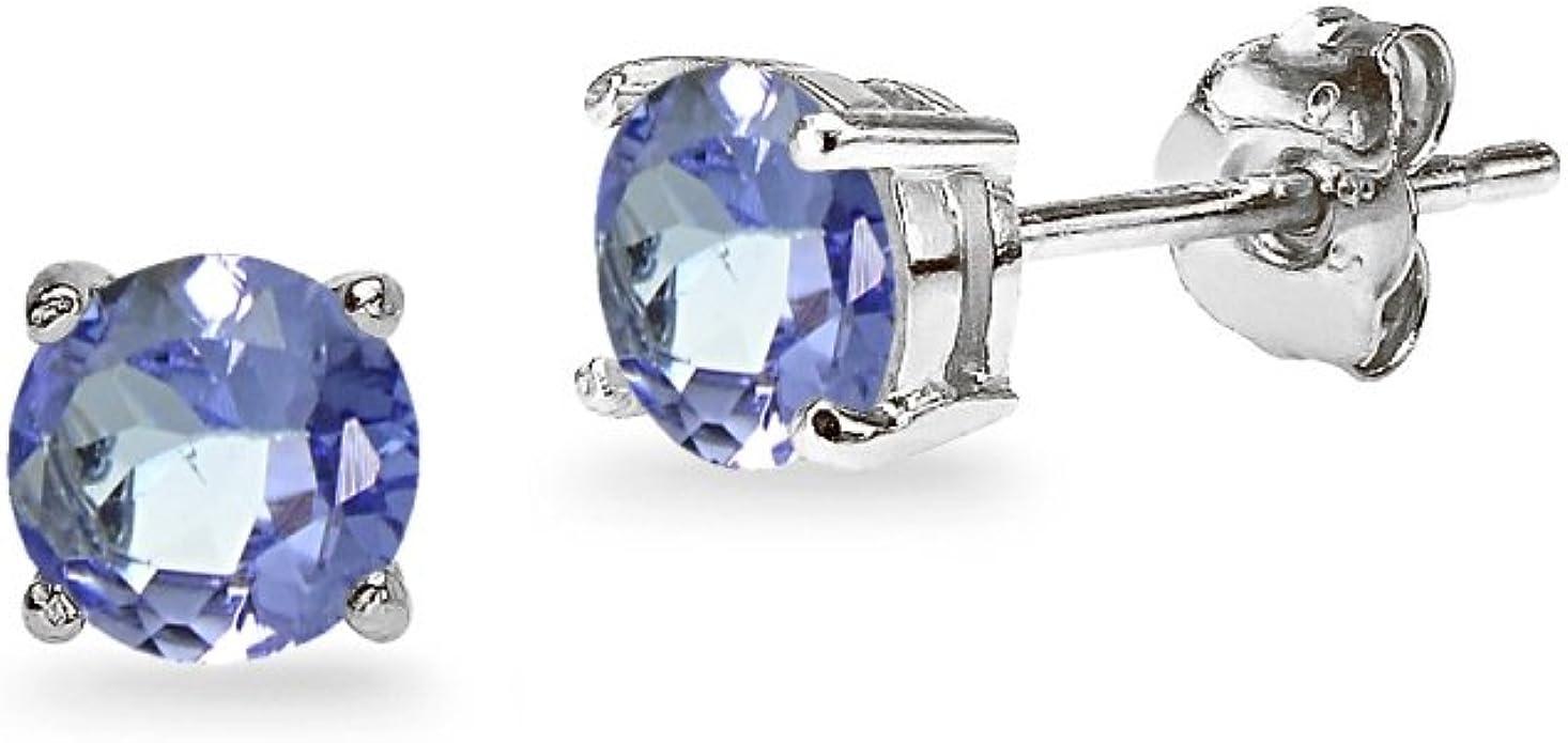 Gemstar Jewellery Brilliant Round Cut Orange Sapphire 14k Rose Gold Finish Solitaire Stud Earrings
