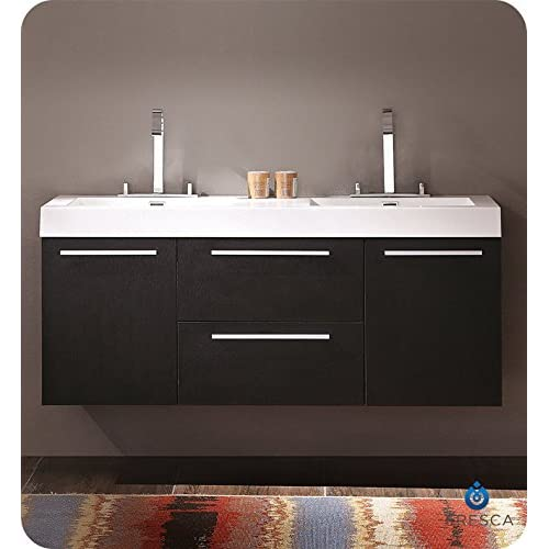 """Fresca FCB8013BW-CMB Opulento 54"""" Black Modern Double Sink Bathroom Cabinet with Integrated Sinks well-wreapped"""