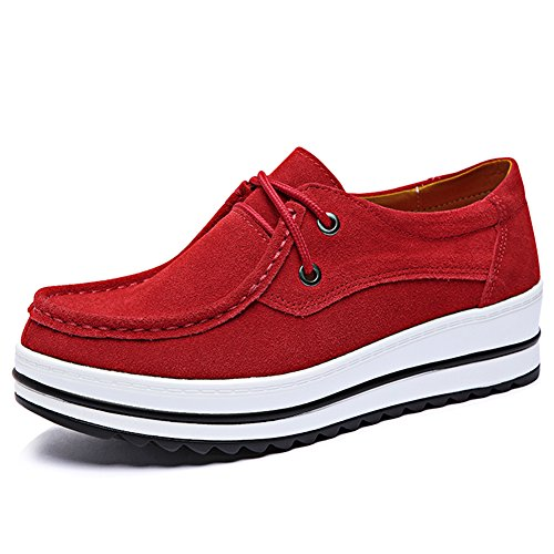 HKR-XJ526hongse40 Women Low Top Suede Wedge Fashion Sneakers Moc Toe Lace Up Platform Oxford Shoes Red 8 B(M) US (Slip Moc Classic)