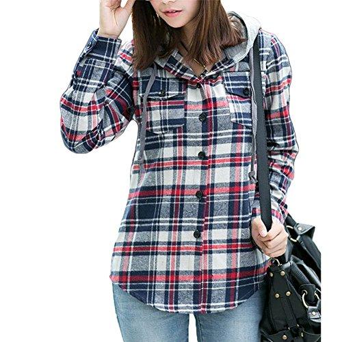 AsherFashion Women Classic Long Sleeves Cotton Hoodie Button-up Plaid Shirts …