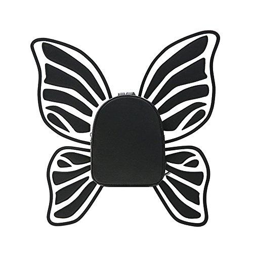 MIMI KING Lovely Backpack School College Style Cuero De LA PU Butterfly Wing Design Moda Cute Pequeños Bolsos De Compras,Silver Black