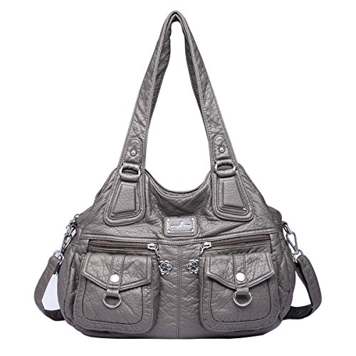 Angelkiss 3 Upper Pockets Zippers Multiple Washes Handbags Leather Shoulder Bags Gray Backpack Woman 1593/2