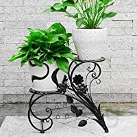 GIG Two Tiered Decorative Display Potted Plants Shelf Without Metal pots, Flowers Stand, Planter Stand, Metal Storage Rack Shelf, Stand for Balcony