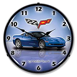 C6 Corvette Jetstream Blue 14 LED Lighted Wall Clock