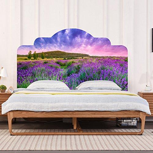 "Headboard Wall Decal Headboard Dorm Decor 3D Purple Lavender Wall Stciker Vinyl Bedroom Wall Art Decor for Home Decoration ( King Size 43""Hx76""W)"