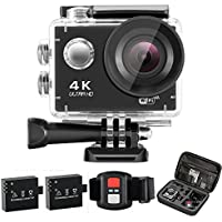 4K WIFI Waterproof Action Camera Waterproof Sport Action Camera with 170 Degree Ultra Wide Angle Lens, 2.4G Wireless RF Controller, Multiple Mount Accessories Package