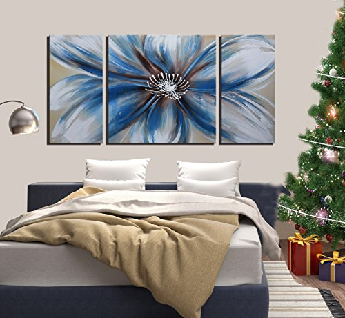 ARTLAND Modern 100% Hand Painted Flower Oil Painting on Canvas Blue Heart 3-Piece Gallery-Wrapped Framed Wall Art Ready to Hang Living Room Wall Decor Home Decoration 20×40 inches