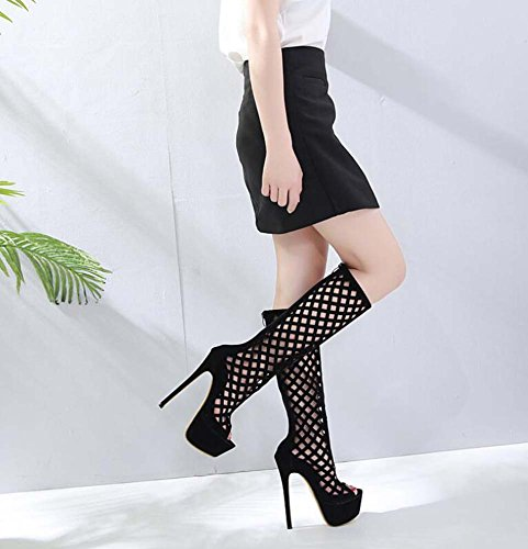 Shoes Stiletto Onfly 5cm Zipper Knee Color Size Dress 40 Shoes Shoes Peep Cool Eu 16 Court Boots Toe Hollow High OL Black Pure Shoes Roma 34 Party Sexy BdBwYqr