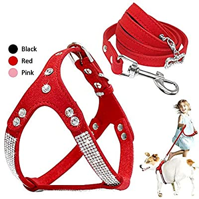 Beirui Soft Suede Rhinestone Leather Dog Harness Leash Set Cat Puppy Sparkly Crystal Vest & 4 ft Lead for Small Medium Cats Pets Chihuahua Poodle Shih Tzu