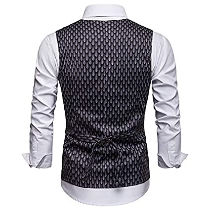 Michealboy Men/'s Fish Scale Printed Double Breasted Suit Vest//Tuxedo Waistcoat