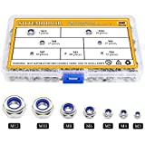 Sutemribor 304 Stainless Steel Lock Nut Assortment 180 Pcs, M3 M4 M5 M6 M8 M10 M12 Nylon Insert Locknut