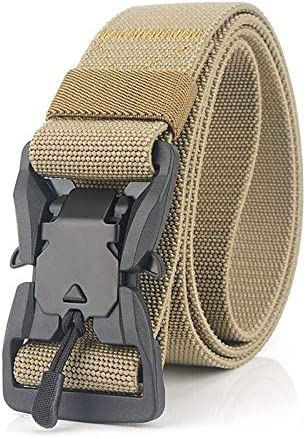 3.8センチメートル磁気クイックリリースバックルの安全ベルトの訓練のために外に速乾性のナイロンベルト純粋な革ベルト
