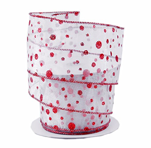 Glitter Polka Dots Red on White Sheer Wired Ribbon #40 - 2.5in x 10 yards